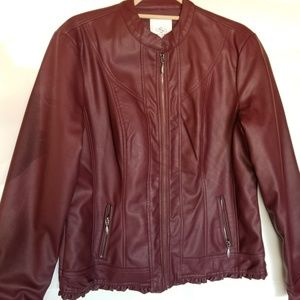 Fall Jacket L burgundy faux leather zip up